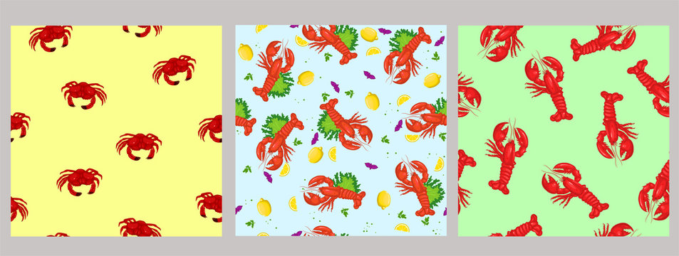 Set of seamless patterns with sea food. Vector graphics.