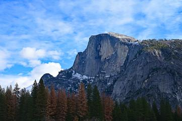 Half Dome in Yosemite National Park, California under winter cloudscape.