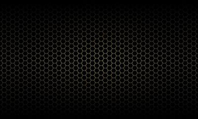 Gold hexagon mesh pattern in dark background texture vector illustration.