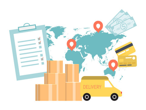 Worldwide delivery service concept. International trucking industry. Global truck transportation and logistic vector illustration. Boxes, card, cash and tablet package deliver by lorry on world map