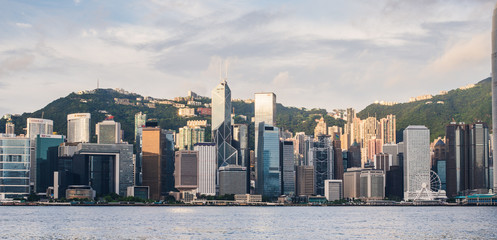 Fotomurales - Landscape of Hong kong city with sunrise background