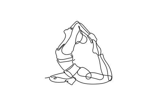 Continuous one or single line drawing. Woman doing exercise in yoga isolated on white background.,
