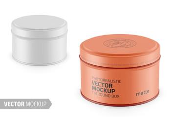 Round matte tin round box template.