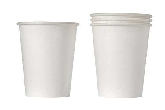 One and Stack disposable paper cups isolated on white background. Close up.