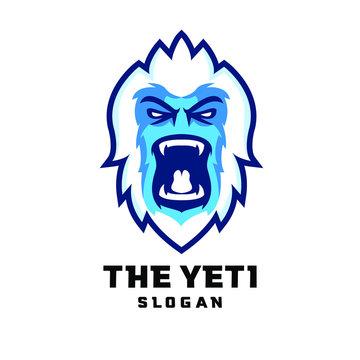 yeti head face character logo icon design cartoon