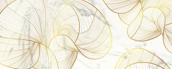 Wall Mural - Luxury golden wallpaper. Marble background vector and line arts decoration for vip and premium packaging design, fabric, print and invitation cover background texture.