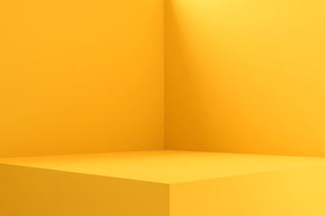 Empty room interior design or yellow pedestal display on vivid background with blank stand. Blank...