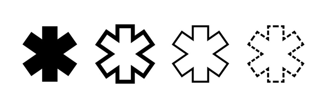 Emergency star vector icons isolated. Ambulance emergency concept. Emergency staff signs symbols.