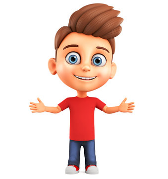 3d render illustration. Funny cartoon character little boy spread his arms to the sides.