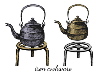 .Set of two cast iron teapots on stands. Vector vintage illustration of kitchen utensils. Clipart.