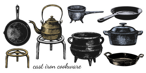 .A set of varied cast iron cookware. Cauldron; ladle, frying pans, stew pan,kettle, roaster and stand. Vector vintage illustration of isolated kitchen utensils. Clipart..