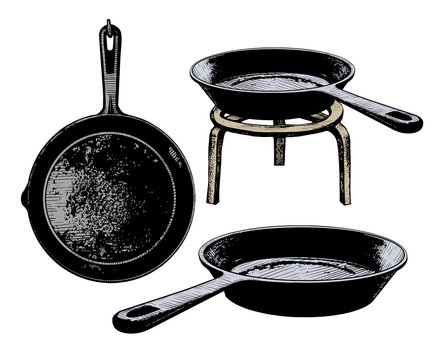.Set of cast iron frying pans. Vector vintage illustration of kitchen utensils. Clipart.