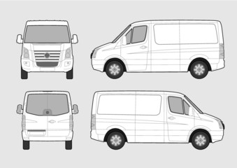 Vector illustration of commercial van