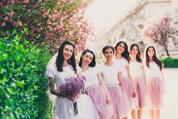 Group of young girls in fashion dress on hen party