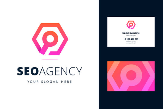 Logo and business card template for seo agency. Magnifying glass sign in a hexagon in origami, line style. Vector illustration for search engine optimization business and marketing.