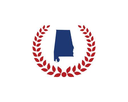 Alabama Map And Laurel Wreath Logo Design Template