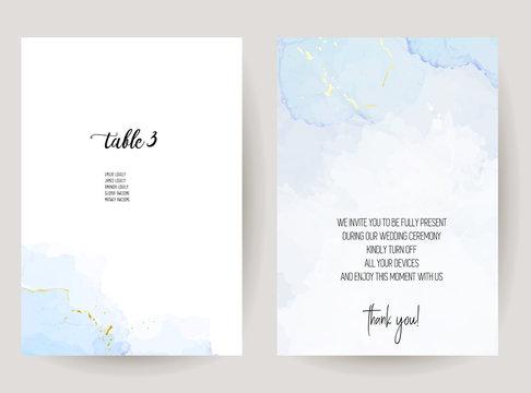 Stylish dusty blue liquid ink vector design cards