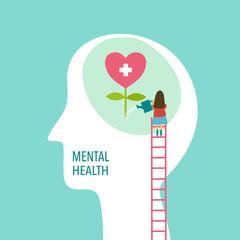 Mental health concept vector illustration. Brain and heart. World mental health day. - fototapety na wymiar