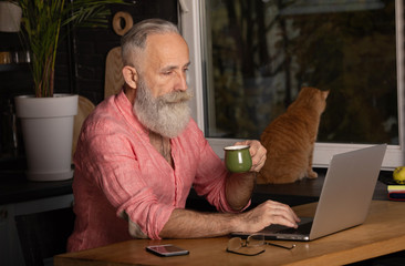 Bearded Senior Businessman work Laptop modern Design Interior Loft Studio Place