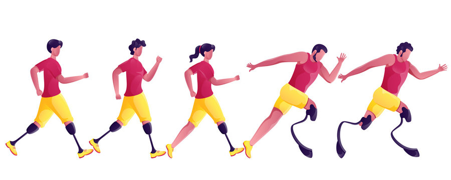 Faceless Disabled Sportsperson or Athletics Running on White Background.