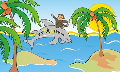 Dolphin and Monkey, cute illustration