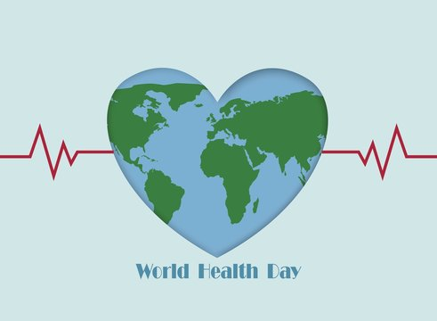 World Health Day with heart map background, Element of this image furnished by Nasa
