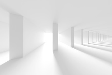 Fotobehang - White Tunnel Background. Abstract Collumns Hall