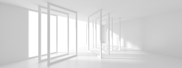 Fotobehang - Futuristic Interior Design. White Room with Window. Minimalistic Abstract Architecture Background