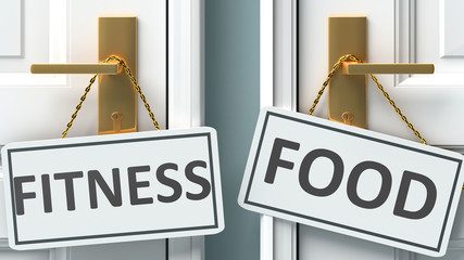 Fitness or food as a choice in life - pictured as words Fitness, food on doors to show that Fitness and food are different options to choose from, 3d illustration