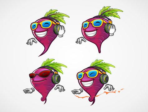 set of beetroot DJ for the beat music mascot cartoon character illustraton vector