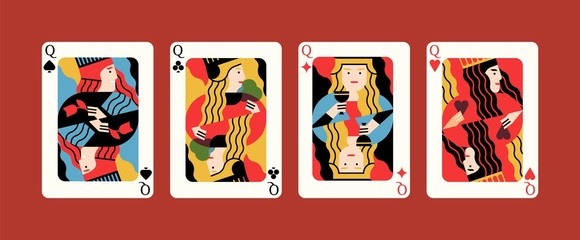 Collection of cartoon different suits playing card queen isolated on red background. Gamble winner poker hand, four of a kind combination, vector flat illustration. Four amusement game symbol.