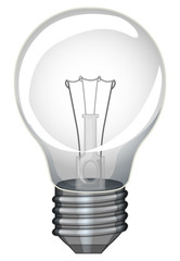 Single lightbulb on white background
