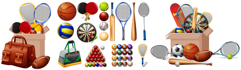 Set of sport equipments on white background