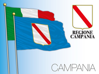 Campania official regional flag and coat of arms, Italy, vector illustration