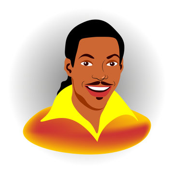 Portrait of a smiling Dark-skinned man with long black hair Isolated. Vector illustration.