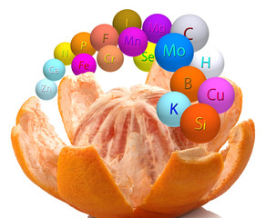 Fototapete - peeled grapefruit and stylized microelements in the form of balls