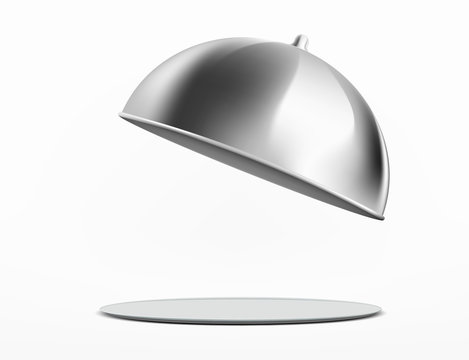 Empty dish or tray with cloche. Isolated on a white