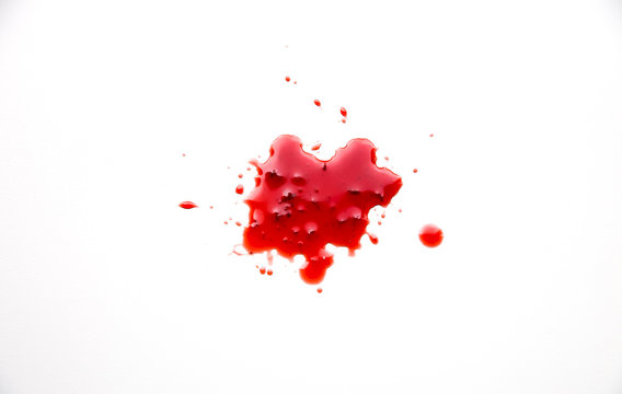 Red abstract spot. Blood stain with clots on white background.