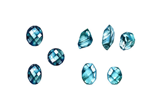 Watercolor gemstones set. Hand painted realistic illustration. Colourful jewel stones and crystals isolated on white. Many different shapes and cuts.