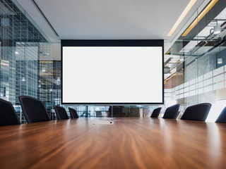 Mock up projector screen Presentation interior conference room Business meeting Office building