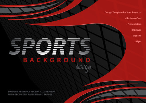 Abstract Background with Red Curved Shapes on Black with Squared Pattern - Modern Sport Graphic Illustration for Printmaking or Flyer and etc., Vector