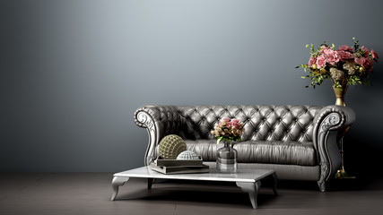 simple room interior render with brown leather sofa in darck style 3d render image