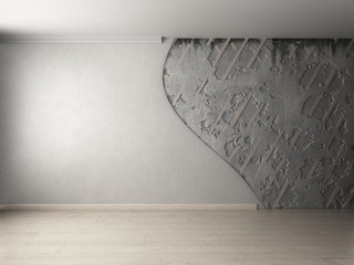 apartment repair concept empty ruined room 3d render image