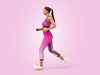 dayly fitness concept girl runs 3d render on color gradient