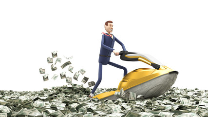 concept of successful profitable business cartoon businessman on a jet ski floats on the river from dollar bills banknotes 3d render on white