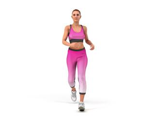 dayly fitness concept girl runs 3d render on white