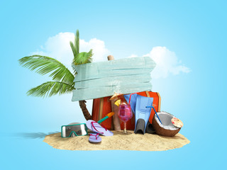 Concept of travel and tourism blue plate attractions and red suitcase for travel on the sand 3D illustration on blue gradient