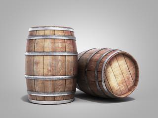 Wooden barrels for wine or wiskey 3d illustration on grey gradient