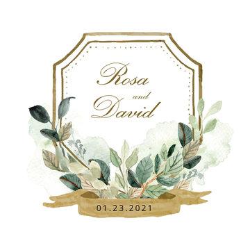 wedding badge foliage watercolor frame