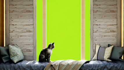 cozy home concept cat sits on a mattress by the window 3d render image green screen